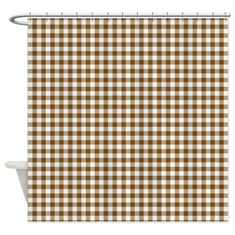 brown gingham shower curtain by zenchic