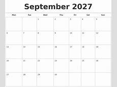 September 2027 Calendars Free