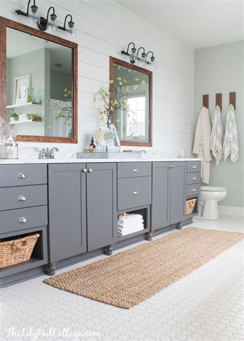 gray bathroom cabinets lake house master bath makeover the lilypad cottage