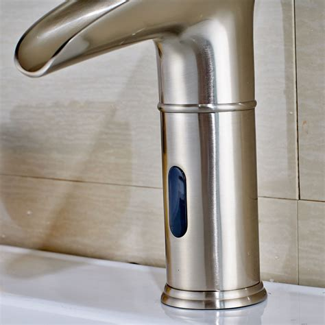 moffat touchless brushed nickel led bathroom sink faucet