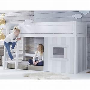 Lit En Hauteur Enfant : lit cabane 90x200 volutif gris ~ Melissatoandfro.com Idées de Décoration
