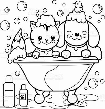 Coloring Dog Cat Bath Taking Tub Pages