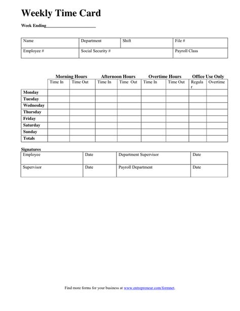 weekly time card template  word   formats