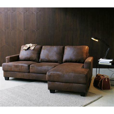 salon du canapé canapé d 39 angle droit 3 4 places en microsuède marron