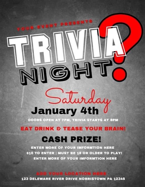 trivia night flyer templates trivia template postermywall