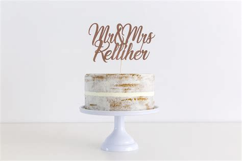 Mr And Mrs Wedding Cake Topper Personalised With Surname