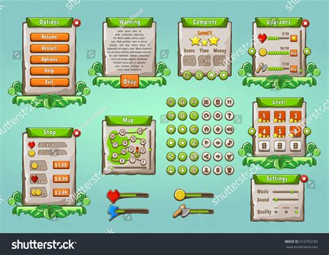 Game Ui Graphical User Interface Set Stock Vector