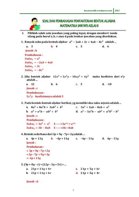 Soal program linier un sma. (8.2.1) soal dan pembahasan pemfaktoran bentuk aljabar ...