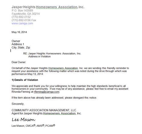 jasper heights hoa violation letters