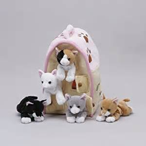 small stuffed cats plush cat house with cats five 5 stuffed animal cats