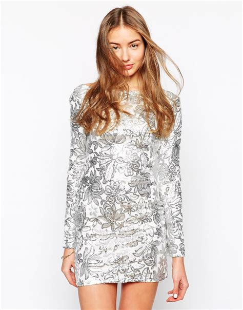 silver sequin l shade club l floral sequin bodycon dress in metallic lyst
