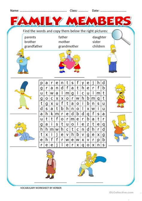 family members ws worksheet  esl printable