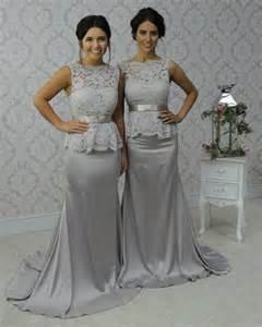 gray bridesmaid dresses aliexpress buy 2015 new lace grey bridesmaid dresses boat neck sheer wedding dress