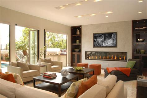 living room with tv and fireplace living room Modern