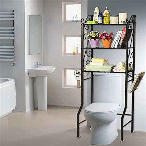 over the toilet metal scrollwork 3 shelf bathroom etagere