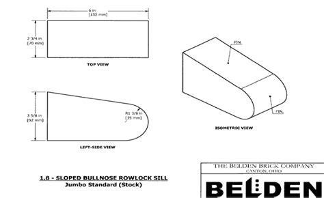 Window Sill Dimensions by Rowlock Brick Sloped Bullnose Rowlock Sill