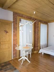 Studio Mirror With Lights Historical Studio Apartment With Folk Motifs Brick Wall