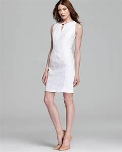 Size Chart Calvin Klein Calvin Klein Seamed Dress In Soft White White Lyst