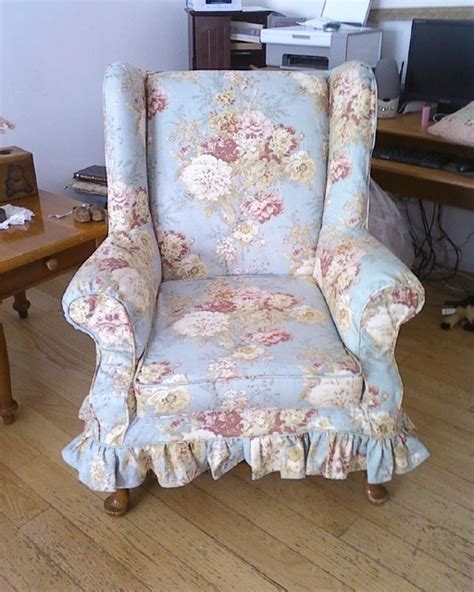 shabby chic slipcovers for wingback chairs shabby chic floral wingback traditional home office new york by custom alley slipcovers