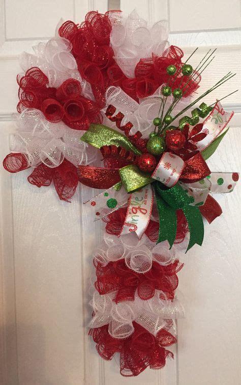 christmas deco mesh candy cane wreathdoor hanger