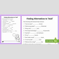 Synonyms For Said Worksheet  Alternatives For Said