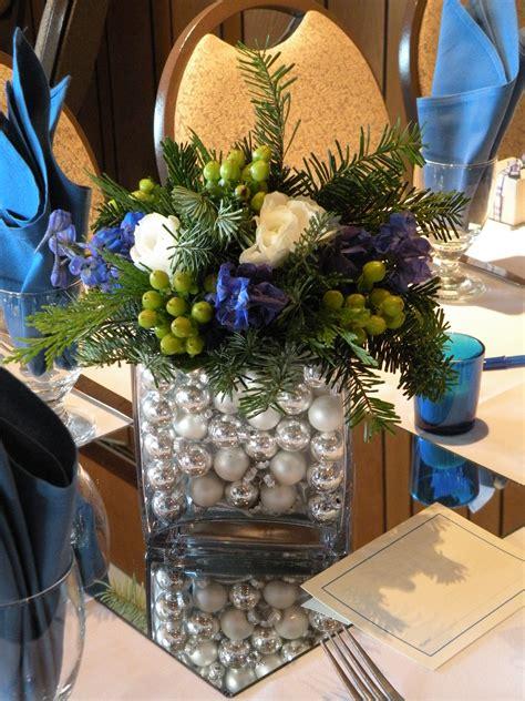 blue and silver flower arrangements blue silver christmas greens a december wedding jen