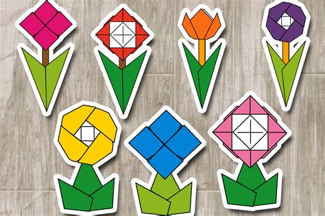 Flowers Origami Clipart, Paper Folding Graphics