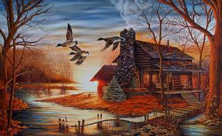 Log Cabin Winter Scenes Paintings
