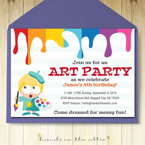Art Party Invitation Printable Template Hands in the Attic