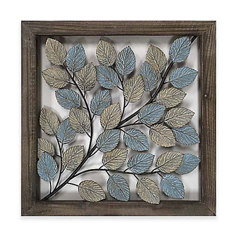 leaves metal wall art  blue cream bed bath