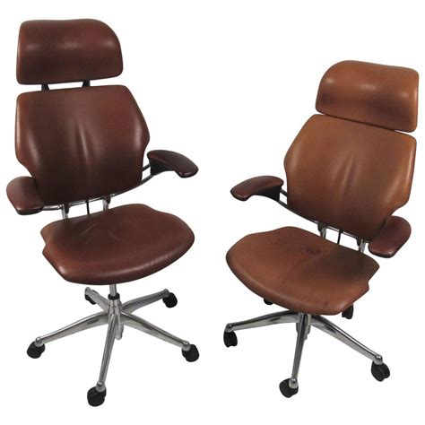 midcentury style ergonomic leather swivel desk chair at