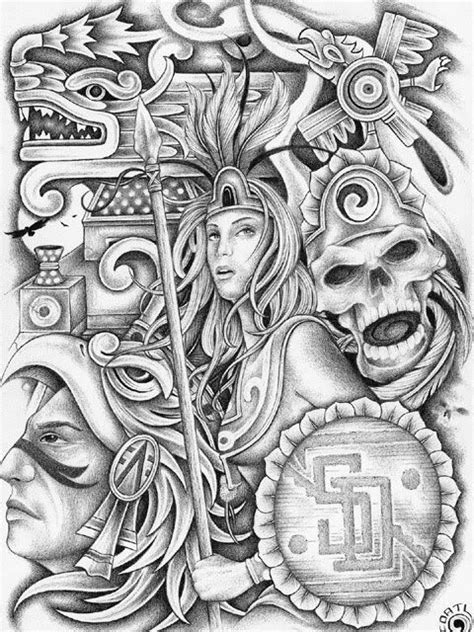 Aztec Drawings | Aztec Art Graphics Code | Aztec Art
