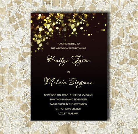 Black And Gold Wedding Invitation Gold Sparkles Bubbles