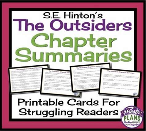 The Outsiders Notes Chapter 7 by Outsiders Printable Chapter Summary Cards For Review And