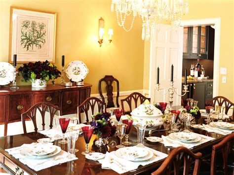 traditional dining room  yellow walls hgtv