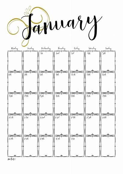 Calendar Printable January Own Makesbakesanddecor