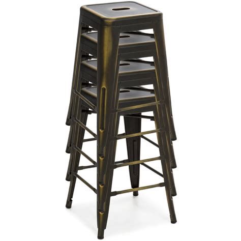 Counter Height Bar Stools Set Of 4 24quot set of 4 stackable metal counter height bar stools