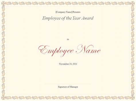 employee   year certificate template excel xlts