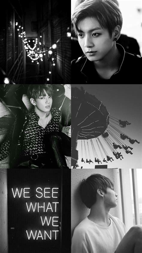 Aesthetic Jungkook Wallpaper Iphone by Kpop Wallpaper Asthetic Black And White Jungkook Bts