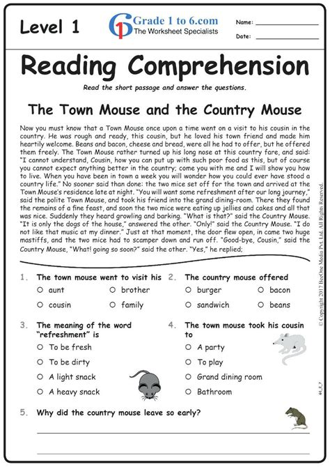 grade reading comprehension worksheets   print