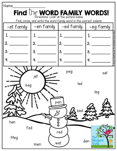 word family worksheets for second grade free word family