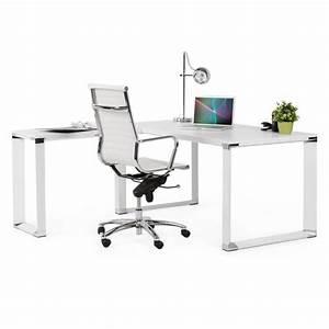 Bureau D Angle Design : bureau d 39 angle design corporate en bois blanc ~ Teatrodelosmanantiales.com Idées de Décoration