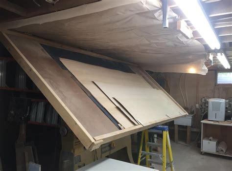 ceiling mounted veneer storage  supplies handy