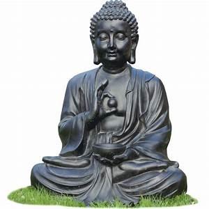 Statue Bouddha Interieur : statue bouddha assis noir 80 cm le bon vivre ~ Teatrodelosmanantiales.com Idées de Décoration