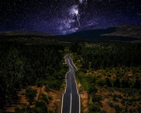 Nature Landscape Starry Night Road Milky Way Galaxy