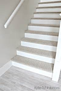 affordable kitchen remodel ideas stairs with carpet herringbone treads and painted white risers looks like a runner benjamin