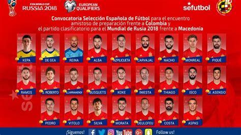قائمة إسبانيا أمام كولومبيا ومقدونيا 6 ريال مدريد و5