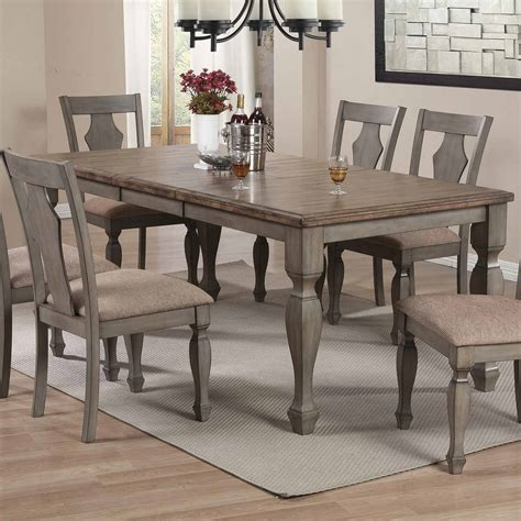 antique grey dining table coaster riverbend dining table wheat antique grey 106301