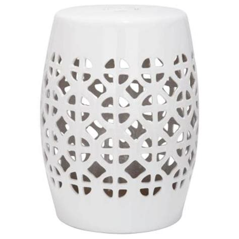 white garden stool safavieh circle lattice white ceramic patio stool acs4508a