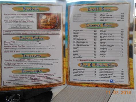Houseboat Grill Restaurant Menu by Menu Picture Of Boat House Tiki Bar Grill Cape Coral